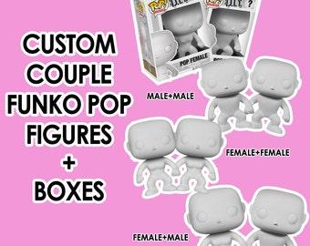 Custom Couple Funk Pop Vinyls And Boxes ANNIVERSARY ROMANTIC birthday wedding unique GIFT