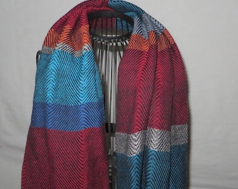 handwoven stola, big scarf, wrap, elegant, festive, made of cottolin
