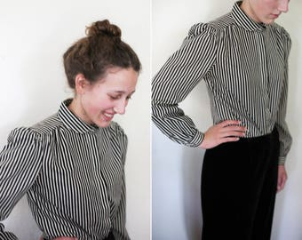 REDUCED! black and beige striped button down with peter pan collar and puff shoulders