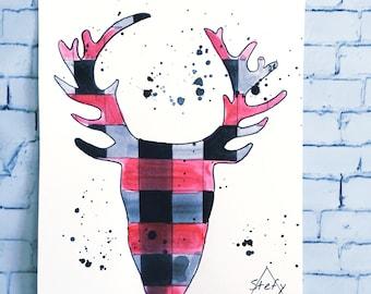 Poster deer head, watercolor illustration deer head, watercolor animals, print 8.5x11
