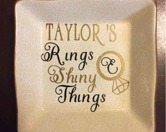 Rings and Shiny Things Personalized Name Ring Dish