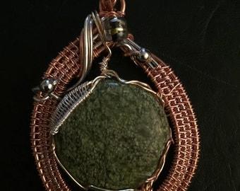 Copper wire weaving, Pendant, copper and silver plate