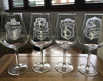 Harry Potter Etched Wine Glasses