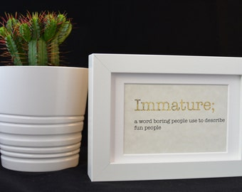 Urban Dictionary Wall Art /Immature Definition / Dictionary Art / Funny Definition / Word Art