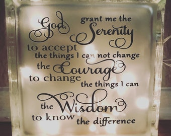 Serenity prayer glass block 8x8