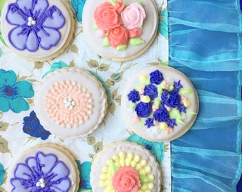 Assorted Flower Cookies, Purple and Pink, Sugar Cookies,  One Dozen, Wedding Cookies, Wedding