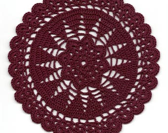 Vintage Handmade Crochet Doily Lace Lacy Doilies Wedding Decoration Home Decor Flower Mandala Dream Catcher Crocheted Round Burgundy Modern