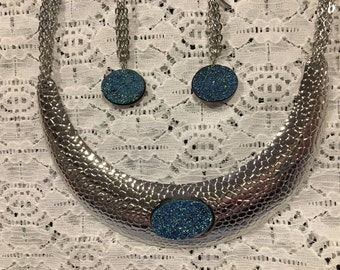Simulated Blue Drusy Necklace Earring Set