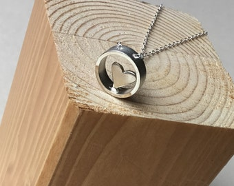 Sterling silver Love heart necklace - heart pendant - circle pendant