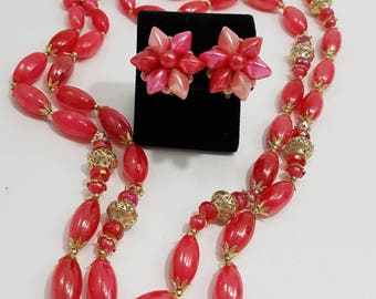 Beautiful Pink Beaded Double Strand Necklace with Matching Clip Earrings Made in Hong Kong