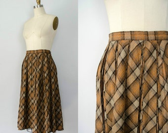 1960s vintage skirt / plaid wool skirt / Gay Gibson