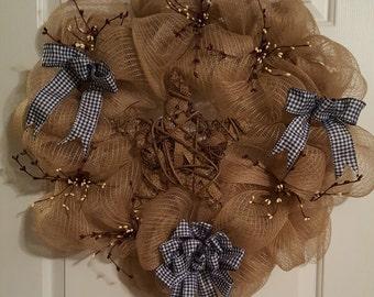 Country Burlap Star Wreath