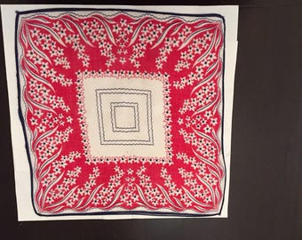 Vintage Handkerchief  / Child's Red, White and Blue