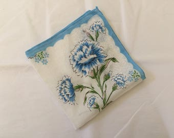 Vintage Handkerchief / Blue Carnations
