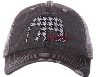Alabama Elephant Houndstooth Trucker Hat ~ Alabama Hat ~ Houndstooth Hat ~ Alabama ~ Roll Tide