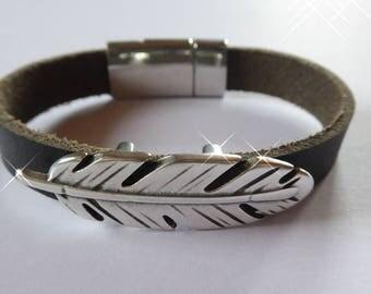 Bracelet, bracelets, jewelry made of black Buffalo leather, feather, unisex