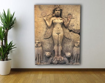 Ishtar/Inanna *Queen Of The Night* Canvas - Babylon/Sumerian/Anunnaki - 40x30, 20x16, 16x12 - 3 Sizes Available