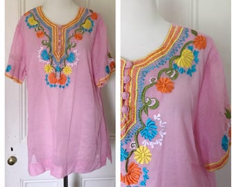 Plus Size Vintage 70's Embroidered Cotton Blouse