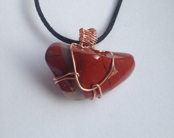Wire Wrapped Red Jasper Necklace