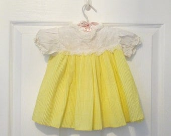 Baby Girl's Yellow Pleated Cotton Dress