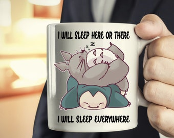 Sleeping Totoro - Snorlax Coffee Mug gifts, totoro mug, ghibli mug, pokemon mug, sleeping mug gifts