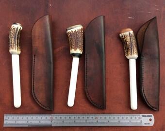 Ceramic knife sharpener with leather sheath