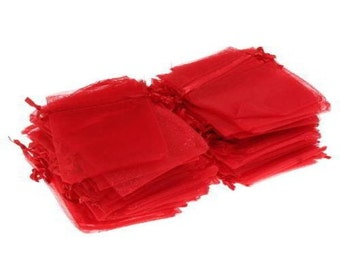 10 confection of organza favor bags red wedding favors