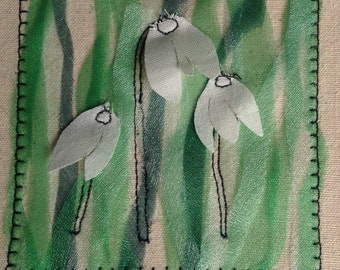 Handmade snowdrop Birthday, Get well Thank you card. Can be personalised with your choice of words at the top of the card.