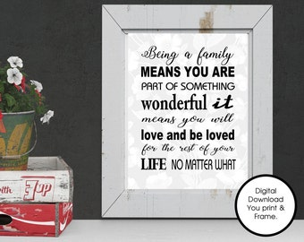 Family Digital Print Being a family means you are part of something wonderful it means you will love and be loved Print Your Own Art