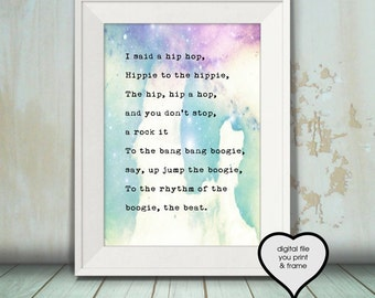 Rapper's Delight The Sugarhill Gang Lyrics Song watercolor art Hipster You Print Your Own Digital Art digital download you print song 1979