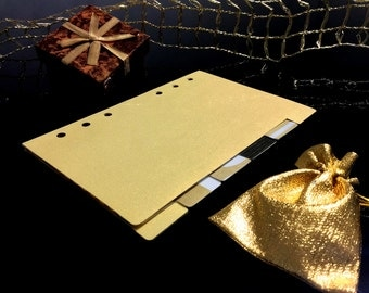 TAB DIVIDERS gold, for personal agendas, on high quality paper.