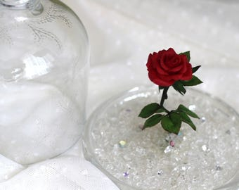 """Сold porcelain rose in a glass klosh """"Beauty and the beast"""""""