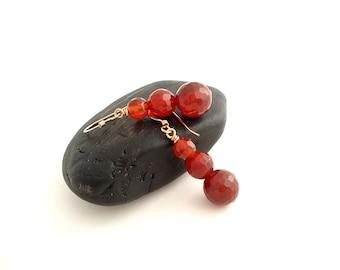Dark Orange Earrings, Carnelian Gemstone Dangle Earrings, Gold Filled, Handmade Long Earrings, Boucles D'Oreilles, Gift Idea For Her