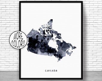 Canada Print, Watercolor Map, Canada Map Art, Map Painting, Map Artwork, Country Art, Office Decorations, Country Map Art Print Zone