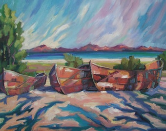 Boats in Loreto, Giclee, reproduction.