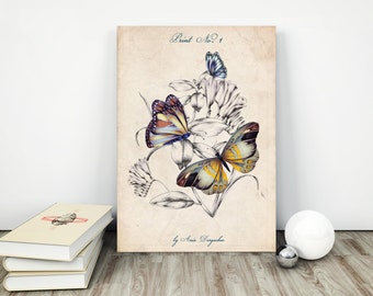 Printable butterfly, Instant download, Butterfly print, Printable art, Art print, Butterfly art, Butterfly printable, Vintage butterfly