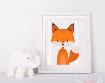 Digital poster file fox decoration design room kid nursery baby forest animals animal