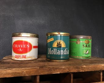 Boîte de tabac à pipe en métal / Tobacco tins box