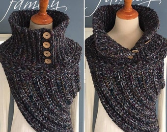 Crochet Chunky Button Down Cowl Vest with coconut Buttons