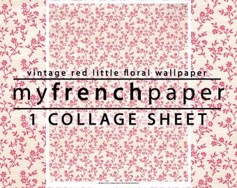 Red Floral Digital Paper, Red Digital Paper Vintage, Printable Scrapbook Paper, Digital Collage Sheet, Vintage Flower Digital Paper