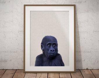 Monkey Print Art, Baby Gorilla, Jungle Nursery, Safari Nursery Art, Baby Monkey Art, Nursery Wall Art, Nursery Decor,Safari Nursery