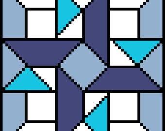 Pattern Design Chart Modern  Cross Stitch (needlepoint, embroidery, gobelin, tapestry) - Geometry Blue