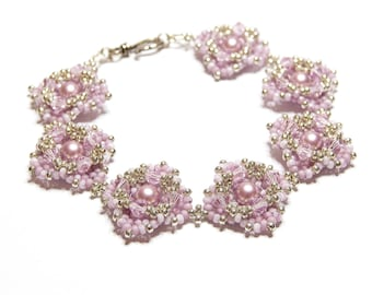 bead woven swarovski crystal and pearl bracelet in pink and silver - Perla Rosa bracelet