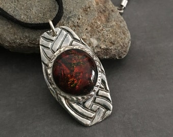 Sterling Silver Modern Style Pendant, Necklace with Amber Dichroic  Glass, Gift for Her