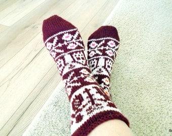 Wool socks, Knitted handmade socks, Gift socks, Knit slippers, Hand knitted wool socks, Soft and warm, Knitted gift, Woolen female socks
