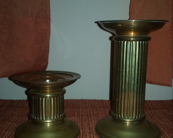 Vintage Brass Candle Pillar Candlestick Holders