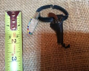 Vintage Hand Made Miniature Holster, Gun, Knife
