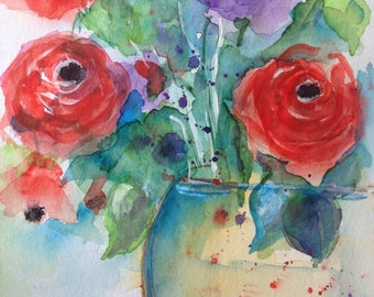 "Watercolor ""Bouquet"" flowers, nature, 17 x 24 cm, unique"