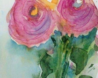 """Watercolour, watercolour postcard """"Flowers"""" flowers, unique"""