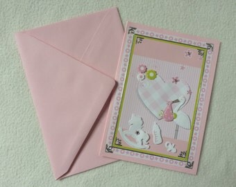 Handmade card without text in the 3-D design of the birth